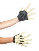 Handschuhe Skelett für Erwachsene schwarz-weiss