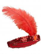 20er-Jahre Pailletten-Haarband mit Feder rot
