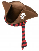 Piratenhut Kostüm-Zubehör braun-schwarz-rot