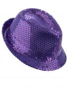 Edler Borsalino Pailletten-Hut lila