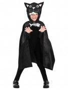 Katzen-Umhang Halloween-Cape für Kinder Kostüm-Accessoire schwarz-weiss
