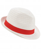 Strohhut für Erwachsene mit Band weiss-rot