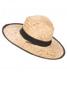 Cowboyhut Stroh-Hut mit Hutband beige-schwarz