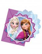 Offizielle Eiskönigin™ Einladungskarten mit Umschlägen 6 Stück violett-blau