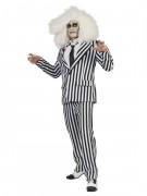 Kostüm gestreifter Anzug Erwachsene schwarz-weiß