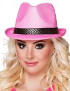 Hut mit Band für Erwachsene pink-schwarz