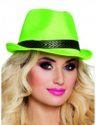 Hut mit Band für Erwachsene neongrün-schwarz