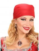 Halskette Brosche mit Totenkopf rot-silber