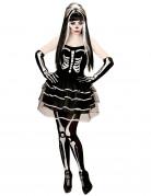 Bezaubernde Skelett-Braut Halloween Damenkostüm Untote Plus Size schwarz-weiss