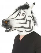 Zebra-Latexmaske für Erwachsene schwarz-weiss