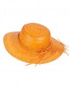 Strohhut mit Hutband Sommer-Hut orange