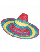 Sombrero Mexiko-Strohhut rot-grün-gelb