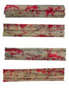 Blutige Holzbretter Halloween-Deko 4-teilig braun-rot 70x12cm