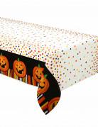 Kinder-Halloween Tischdecke Kürbis weiss-orange-bunt 213x137cm