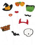 Lustiges Halloween-Set für Fotos 10-teilig bunt