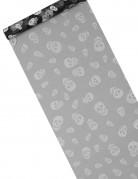 Totenkopf-Tischdeko Halloween-Tischläufer grau-schwarz 5m