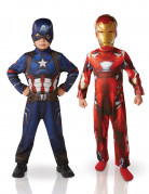 Kinderkostüm-Set Iron Man™ und Captain America™ Superhelden-Kostüme rot-blau