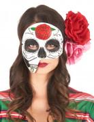 Tag der Toten Augenmaske Skull weiss-bunt