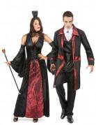 Mittelalterliches Vampir-Paarkostüm schwarz-rot