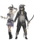 Geister-Piraten Paarkostüm schwarz-grau-blau