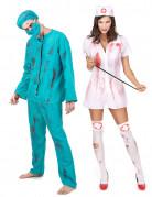 Zombie-Chirurg und Zombie-Krankenschwester Paarkostüm Halloween weiss-blau