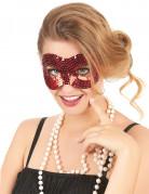 Pailletten-Augenmaske venezianische Maske rot