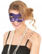 Halbmaske Pailletten Maske violett