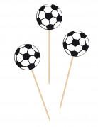 Fußball Party-Picker Party-Zubehör 20 Stück schwarz-weiss