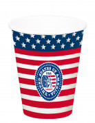 Trinkbecher Pappbecher USA 8 Stück blau-rot-weiss