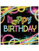 Servietten Happy Birthday Glow-Party 16 Stück