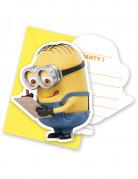 Einladungskarten Lizenzartikel Minions 6 Stück mit Umschlägen gelb-blau