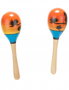 Hawaii-Rasseln Maracas-Holzrasseln orange-blau-schwarz