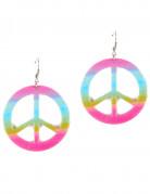 Peace-Ohrringe Hippie-Ohrringe pink-bunt