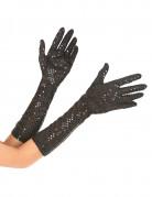 Elegante Pailletten-Handschuhe mittellang schwarz