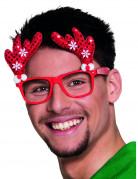 Spaßbrille Rentier für Erwachsene rot-weiss