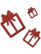 Deko Geschenke 6 Stück Glitzer rot