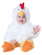 Flauschiges Hünchen Kostüm Huhn für Babys weiss-gelb-rot