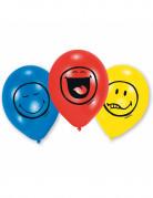 Luftballons mit lustigen Gesichtern 6 Stück bunt