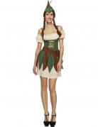 Sexy Waldmädchen Damenkostüm Jägerin beige-grün-braun