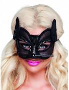 Katzen Maske Halbmaske für Damen schwarz