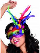 Venezianische Augenmaske mit Federn Regenbogen für Erwachsene bunt