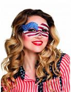 Venezianische Augenmaske USA Glitzer blau-weiss-rot