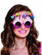Cupcake Spaßbrille Happy Birthday für Erwachsene bunt