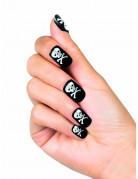 Aufklebbare Fingernägel künstlich Totenkopf für Damen schwarz-weiss