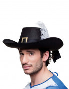 Mittelalter Musketier Hut mit Feder für Erwachsene schwarz-weiß