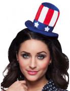 Mini Amerika Hut USA mit Haarreif für Erwachsene blau-weiss-rot
