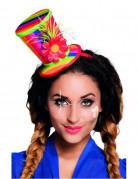 Mini Zylinder Haarreif Clown mit Blume für Erwachsene bunt