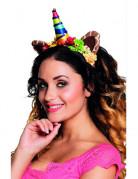 Fantasy Fabel Haarreif Einhorn Giraffe mit Blumen für Erwachsene bunt