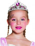 Krone Diadem Prinzessin mit Herzen für Kinder silber-pink