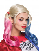 Suicide Squad Harley Quinn Zopf-Perücke Lizenzware blond-pink-blau